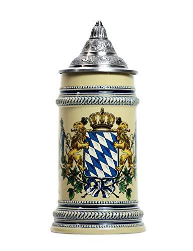 Amoy-Art Bierkrug mit Deckel Deutschland Bierseidel Bayernwappen Seidel German Beer Stein Mug Geschenk Giftbox Steinkrüge 0.7 Litre