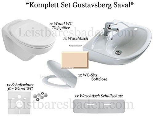 Gustavsberg Saval *KOMPLETT Set Wand WC Softclose Sitz Waschtisch 60 cm Farbe bahamabeige,beige