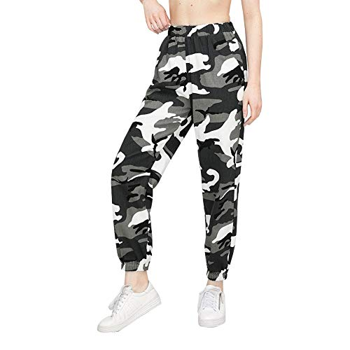 Loalirando Pantalon Femme Camouflage Décontracté Cargo Camo Pants Militaire Taille Elastique - XL - Gris
