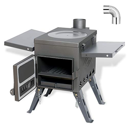 Fltom Camp Tent Stove, Portable Wood Burning Stove for Tent, Shelter, Camping Heating and Cooking, Includes Stainless Wall Chimney Pipes