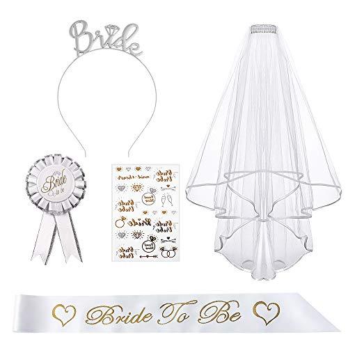 Bride to Be Echarpe Hen Party Accessoire Decoration, Bride to Be Sash,Voile de mariée, Badge, Diadème de Mariage, Tatouage temporaire déguisement Enterrement de Vie de Jeune Fille Accessoires