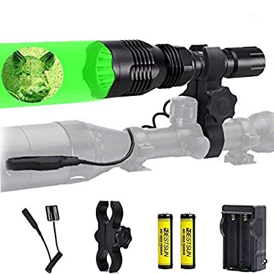BESTSUN Predator Light, 1000 Lumen Super Bright Green Light Flashlight 350 Yards Long Range Green Hunting Light Waterproof Hog Coyote Hunting Torch with Pressure Switch, Scope Mount and Battery