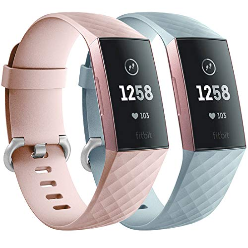 Faliogo 2 Stück Ersatzriemen Kompatibel mit Fitbit Charge 3 Armband/Fitbit Charge 4 Armband, Weiches Sports Uhrenarmband Armbänder für Damen Männer, Groß, Sand Rosa/Mint