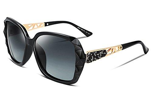 FEISEDY Übergroßes Sonnenbrillen für Frauen Polarized UV Protection Fashion Sparkling Composite Frame B2289