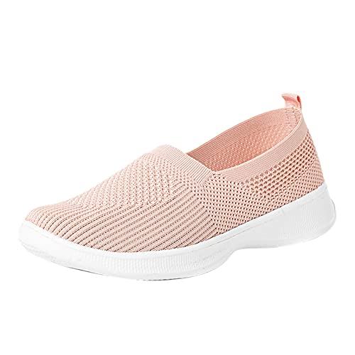 URIBAKY - Zapatillas de deporte transpirables de verano para mujer, de malla para exteriores, running en carretera, correr, fitness, transpirables, Rosa (rosa), 37 EU