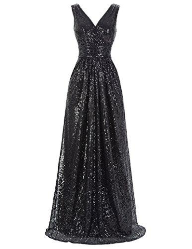 Kate Kasin Damen Abendkleid Einfarbig, Kk199-4(schwarz), Gr.- 52 EU