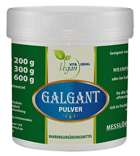 VITAIDEAL VEGAN® Galgant Pulver (Alpina officinarum, Galgantwurzel) 300g inklusive Messlöffel, rein natürlich ohne Zusatzstoffe.