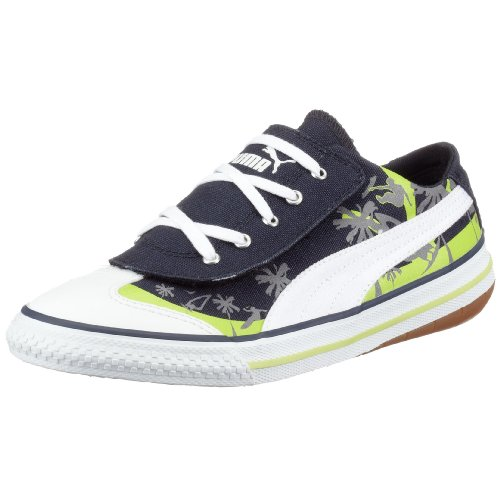 Puma 917 Lo CALI Jr 349918 04, Unisex - Kinder Sneaker, blau, (new navy-white-wild lime 04), EU 35 1/2, (US 4), (UK 3)