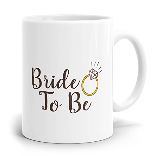 Drucksaal Taza en color blanco con texto en alemán 'Bride to be Schon ab 1 unidad'. Ideal como regalo para la futura novia. Taza de café con impresión