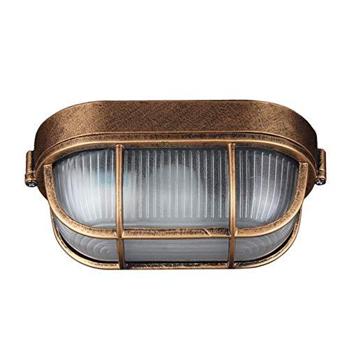 Lámpara de pared ovalada para exteriores de metal vintage industrial, lámpara de pared marítima, lámpara de pared interior Utdoor patio jardín puerta rejilla lámpara E27 aluminio