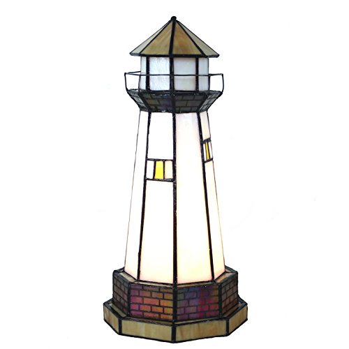 Bieye L10626 12 inch Lighthouse Tiffany Style Stained Glass Accent Table Lamp, Night Light