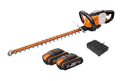 WORX 40V Akku Heckenschere WG284E, Heckenschneider 2 x 20V/2.0Ah, Powershare, Dual Schnittklingen für gleichmäßige Schnitte – Inkl. Schutzköcher, 1 Std. Dual-Schnelladegerät, 2 x 18V