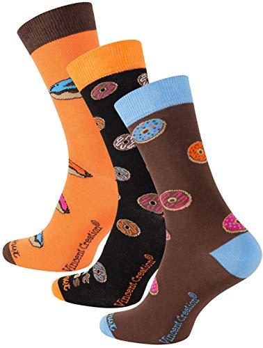 Vincent Creation 3 Paar Bunte Lustige Socken, Damen und Herren Fun Socks, Witzige Strümpfe, Verrückte Socken Modische Oddsocks Mehrfarbig als Geschenk, Einheitsgrösse (41-45, Donuts)