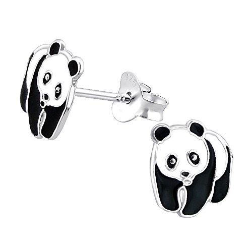 Laimons Kids Pendientes para niña Oso panda Negro, Blanco Plata de ley 925