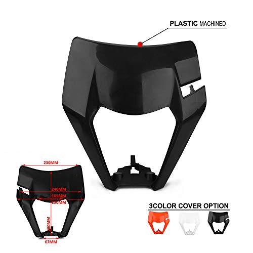 JFG RACING Headlight Fairing Headlight Mask Headlamp Cover Lampshade For 125 150 250 300 350 450 500 EXC XCW EXC-F 2017 2018 Dirt Bike Enduro Motocross Supermotor Black