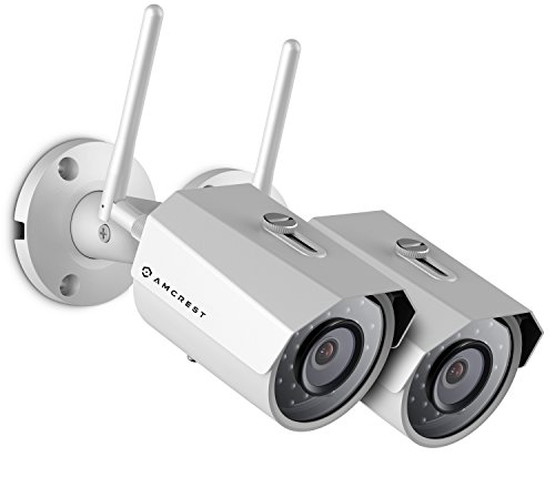 2-Pack Amcrest ProHD Outdoor 3-Megapixel (2304 x 1296P) WiFi Wireless IP Security Bullet Camera - IP67 Weatherproof, 3MP (1080P/1296P), IP3M-943W (White) Bullet Cameras