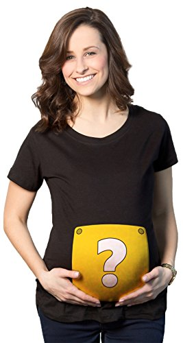 Crazy Dog Tshirts - Maternity Question Mark Block T Shirt Nerdy Video Game Pregnancy Tee for Ladies (Black) - L - Femme