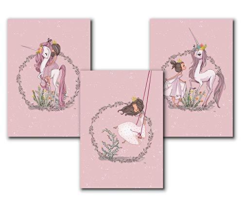 3er Set Kinderposter | Bilder Kinderzimmer Deko Mädchen DIN A4 | Deko Babyzimmer Mädchen Deko | ohne Bilderrahmen | Dekoration Kinderzimmer Mädchen- Prinzessin und Einhorn