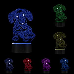 Lovely 3D Dachshund Puppy Night Light Personalized Novelty Decorative Lighting with Color Changing Table Lamp Dog Gift
