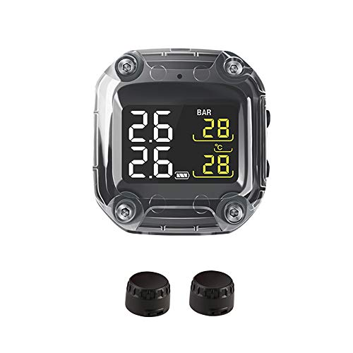 Lechnical Drahtloses digitales Motorrad-Reifendruckmessgerät-Überwachungssystem Wasserdichtes TPMS-Digital-LCD-Display-Reifendruckkontrollsystem mit 2 externen Sensoren für Motorräder