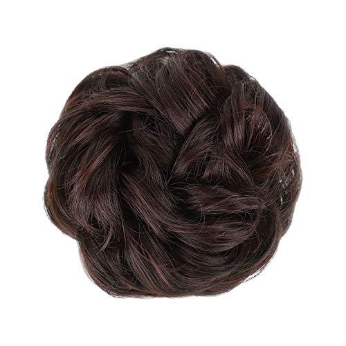 Chignon Donut Extensions de cheveux synthétiques avec bande élastique en caoutchouc Marron
