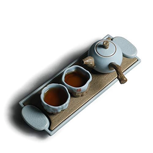 ZXXYTA Horno Tianlan RU, Juego de té portátil de Viaje Kung Fu, una Olla y Dos Tazas, encimera de cerámica de Burbujas secas y asa lateralDecorations