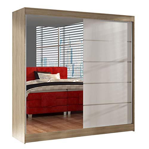 Schwebetürenschrank Basti III 200 cm mit Spiegel - Kleiderschrank, Schiebetürenschrank mit Kleiderstange und Einlegeboden, Schlafzimmerschrank, Schiebetüren, 200x215x58 cm (Sonoma/Weiß)