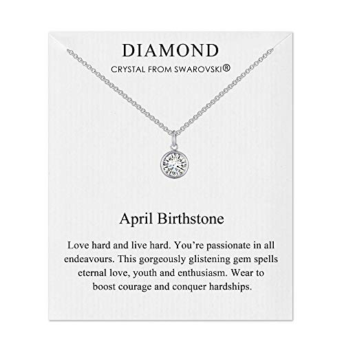 Philip Jones April (Diamond) Birthstone Necklace Created with Austrian Crystals