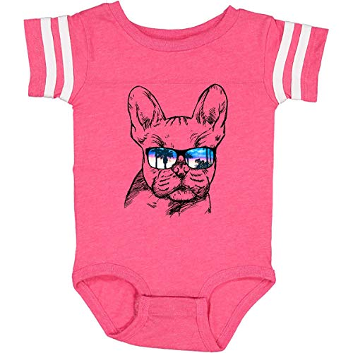 inktastic French Bulldog Infant Creeper Newborn Football Pink and White 2a719