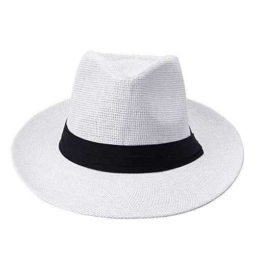 ファッションメンズ女性パナマ日麦わらのコントラストリボン挟まクラウンはトリムビーチキャップロール UVプロテクション (Color : White)