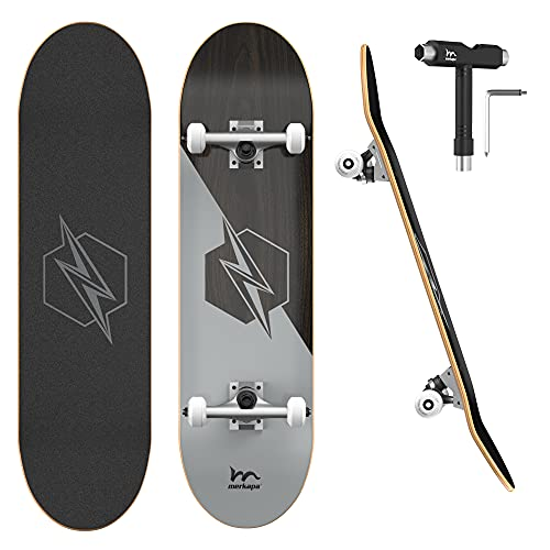 """M Merkapa 31"""" Pro Complete Skateboard 7 Layer Canadian Maple Double Kick Deck Concave Skateboards with Tool(Silver)"""