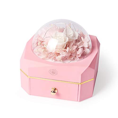 fgdjtyyj Caja de anillo con luz LED, estuche portátil para pendientes, collares, anillos, organizador de joyería de viaje de plástico para cumpleaños, compromiso, matrimonio, rosa 11,9 x 11,5 cm