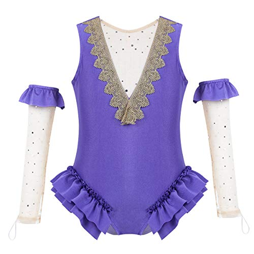 winying Kids Girls Show Costume Mesh Splice Gold Braid Trimmings Leotard with Arm Sleeves Outfit Set Lavender 10