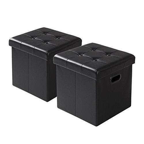 WOLTU SH15sz-2 Lot de 2 Tabouret Pouf Coffre Cube Repose-Pieds avec Espace de Rangement Boîte de Rangement Pliables en Simili Cuir,37,5 * 37,5 * 38cm,Noir