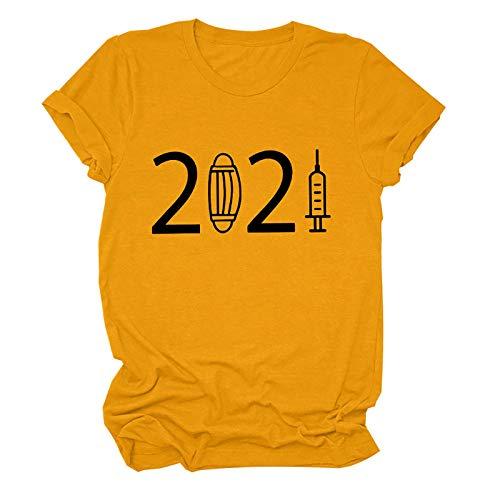 2021 Unisex C.O.V.I.D.19 Short-Sleeve Preventive Personality Printed T-Shirt Loose Base Top (Color : Orange, Size : X-Large)