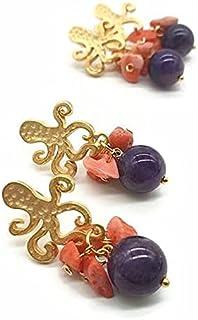 orecchini polipo, orecchini ametista, orecchini, ametista pietre, orecchini argento
