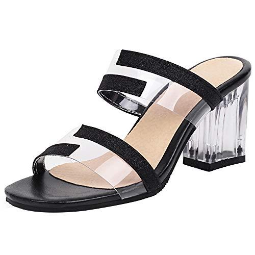 NIGHT CHERRY Damen Mode Chunky Heel Kleid Pantoletten Transparent Offene Zeh Party Sandalen Black Gr 41 Asiatisch