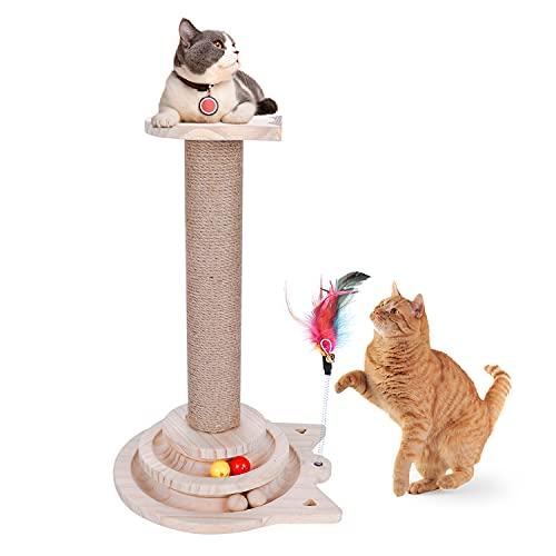 L'altezza della colonna in sisal naturale e sisal graffiato è di 44 cm,centro di attività per gatti stabile e confortevole, pellicce interessanti e badminton, possono attirare i gatti gratuitamente