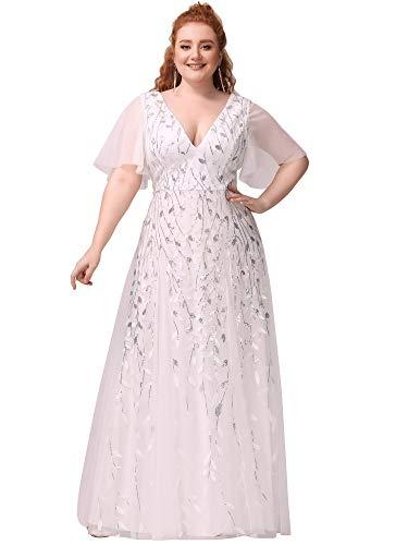 Ever-Pretty Women's V Neck Short Sleeve A Line Elegant Shimmery Sequin Plus Size Wedding Dresses for Bride White 20UK