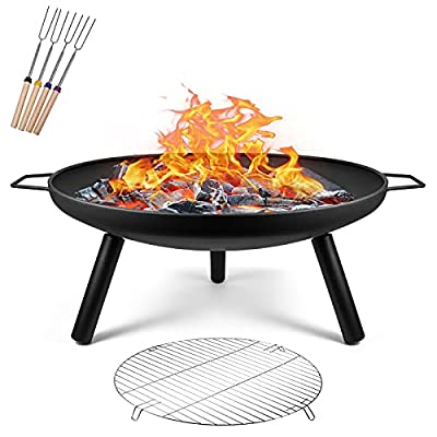 Portable Fire Pits for Garden Outdoor Fire Pits Steel Folding Fire Bowl with Grill & Cover & Poker Camping Fire Pit BBQ by ZapaEsti