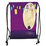 Rucksack mit Kordelzug, Laterne, chinesischer Stil, Pavillon in Vollmond-Nacht zum Feiern des Mittelherbstfests, dekorativ, violett, nachtblau, weicher Satin, 5 Liter Fassungsvermögen, verstellbar