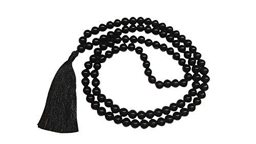 WholesaleGemShop Natural Black Tourmaline Mala with 108 Prayer Beads Perfect for Meditation Spiritual Jap Mala Prayer Mala Necklace