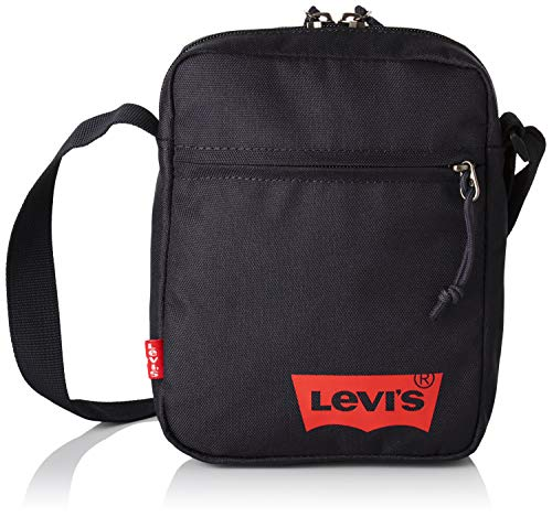 Levi's Herren Mini Crossbody Solid (red Batwing) Schultertasche, Schwarz (Regular Black), 5.5x15.5x21 centimeters