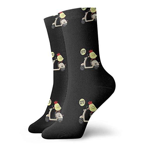 QUEMIN Weihnachtsgeschenk Küken Dig It Scooter Socken Klassische Sport Kurze Socken 30 cm / 11,8 Zoll Geeignet für Männer Frauen