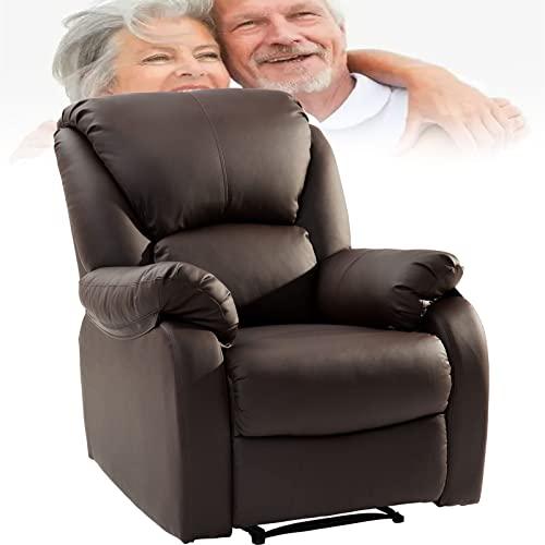 SUNWEII Sillón para TV Sillón Relax, sillón Relax con función reclinable, sillón de Cuero Sofá Sofá inclinable Sillón Push Back para Home Lounge Gaming Cinema Respaldo Alto,Brown-2pcs