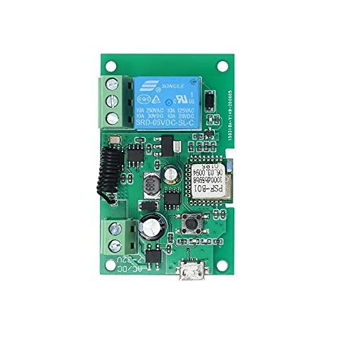 MHCOZY WiFi Inalámbrico Conmutador inteligente Inching Autobloqueante Módulo de relé, se aplicará al control de acceso, bricolaje WIFI Abridor de puerta de garaje (1CH WIFI RF)
