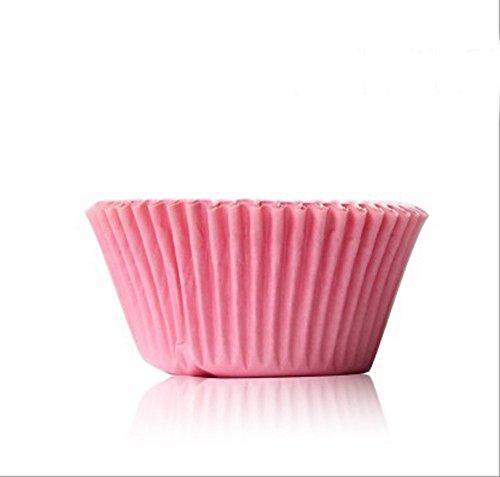 AsentechUK 100PCS para Magdalenas Cupcake Vaso de Papel Aceite Chocolate Papel Bandeja para Tartas Molde para Hornear 5 x 3cm Rosa