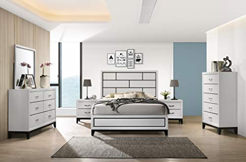 Roundhill Furniture Stout Contemporary Panel Bedroom Set with Queen Bed, Dresser, Mirror, 2 Night Stands, Chest, White