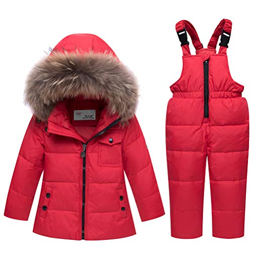 Skijakkeset Niña Abrigo Esquí de Nieve Gruesa Conjunto Ropa de Plumas Capucha + Pantalón con Peto Jumpsuit 2 Piezas 0-3 años (Rojo, 4-5 años)