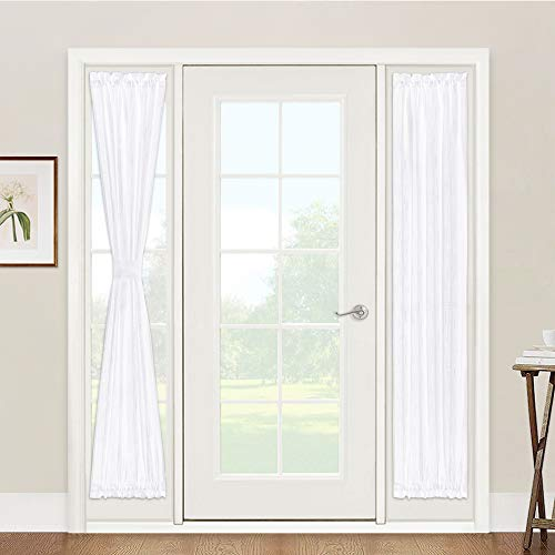 """Window Treatments for French Doors - Linen Texture Semi Sheer Privacy Sidelight Panels Glass Door Curtains for Entry Door Front Door Foyer Window Blinds, 2 Free Ropes, 2 Panels, 30"""" x 72"""", White"""